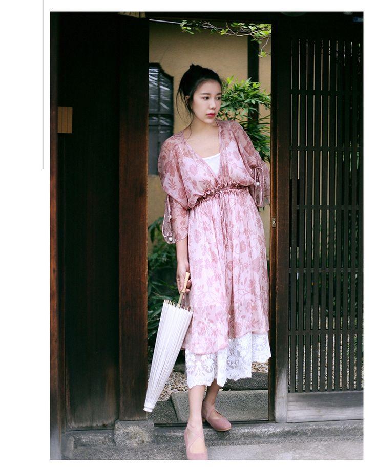 MAI XU Pink Floral Printed Long Dress