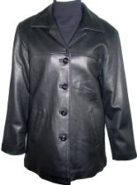 5004 STANDARD Grade Genuine Black Soft Supple Light Lambskin Leather Classic Traditional New Pea Coat Blazer Jacket Notched Lay Down Collar Button Front Closure Slant Pocket Silky feel Pocket Lining Nylon Lined Regular Fit, ZIP OUT FAKE FUR VELOUR LINER, Petite Regular Plus Size