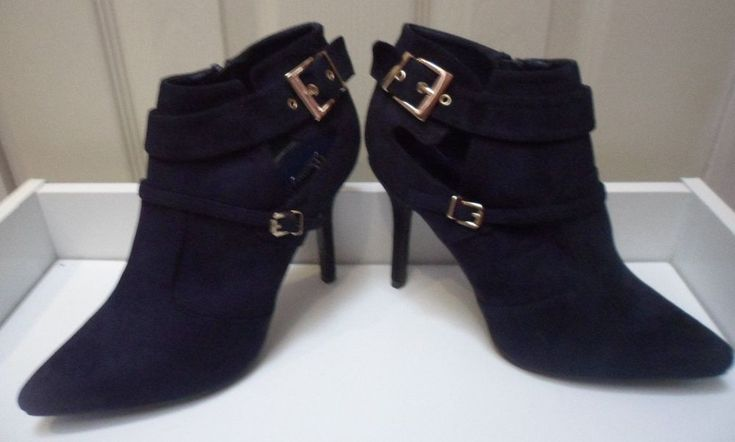 Womens Ladies Navy Faux Suede High Heel Buckle Shoes Ankle Boots Size UK 8 New  #boots #shoes #navy #ankleboots #highheel #highheels #fauxsuede #cutout #buckles #zip #party #shopping #style #fashion #footwear #forsale #womens #womensfashion #ladies #ebay #ebayseller #ebayshop #ebaystore