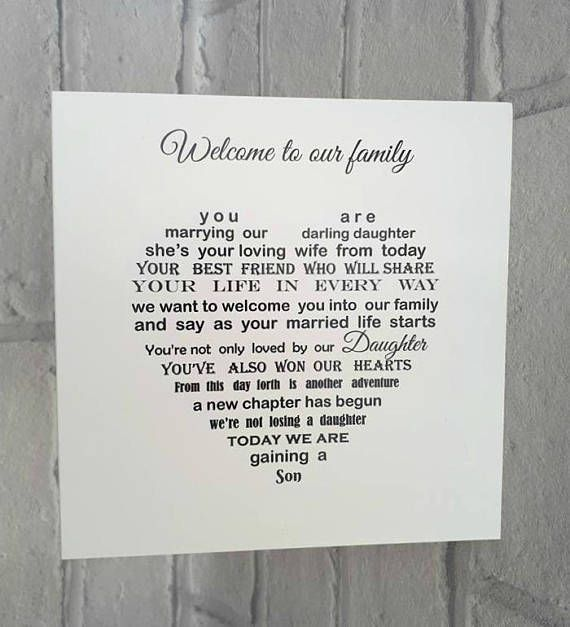 Welcome To The Family Son In Law Card Https Www Etsy Com Uk Listing 553026306 Wedding Day Son In La Wedding Card Messages Son In Law Gifts Wedding Day Quotes