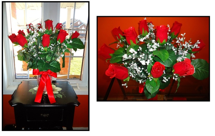Beautiful faux rose bouquet arrangement.  Great mother's day, valentines or anniversary gift.  Also a great décor piece for the home