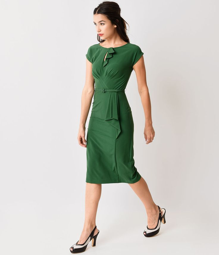 Stop Staring Green Timeless 1930s Fitted Wiggle Dress $172.00 AT vintagedancer.com