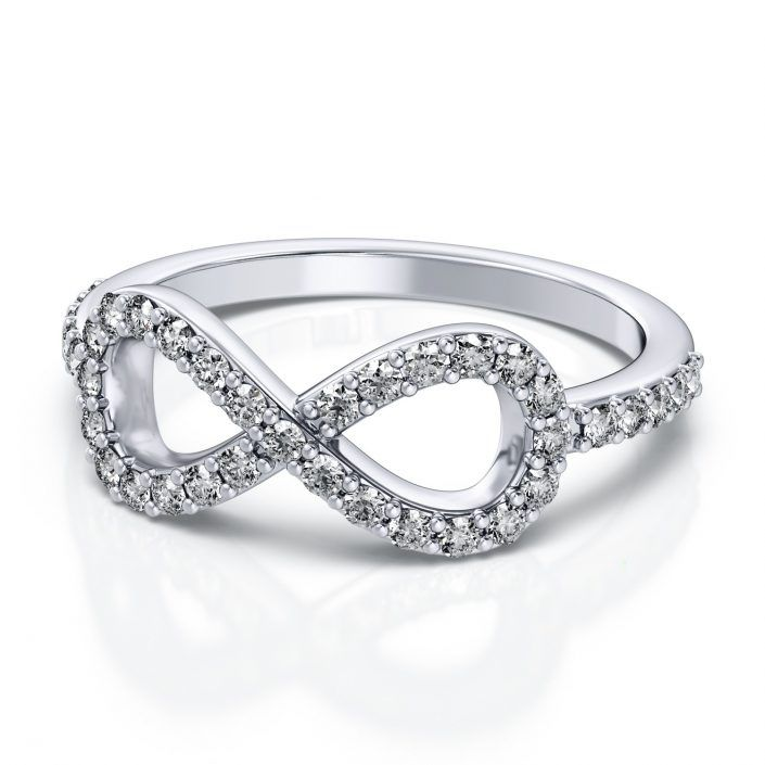 ''Demetra'' Classic Infinity Fashion Round Diamond Ring Show her how you feel with this infinity diamond ring.  This classy ring contains thirty nine (.39ctw) stunning round shape prong set diamonds.