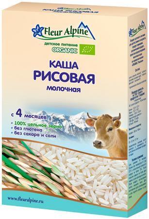 Fleur Alpine Молочная рисовая (с 4 месяцев) 200 г  — 265р. ----- Каша молочная Fleur Alpine Organic рисовая с 4 мес. 200 г. Рекомендуется в качестве первого зернового прикорма. Уникальные свойства риса — это секрет, который заключен в составе зерен. Высокая пищевая ценность делает крупу незаменимой для детского питания. Крахмально-слизистые составляющие этой каши обволакивают желудок, защищая его от раздражения. Рис имеет свойство выводить токсины и вредные вещества из организма, благодаря…