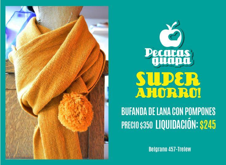 Super promos en Pecaras guapa de Trelew! Ya comenzamos con la Pre-Liquida de Otoño! Bufanda de pompones al mejor precio! Buscala en Belgrano 457, #Trelew #Chubut #Liquidacion #Bufanda