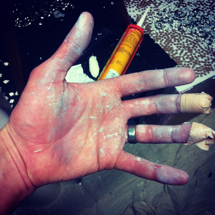 state of my hands at the end. Still had industrial adhesive and super glue in my hands after a week.