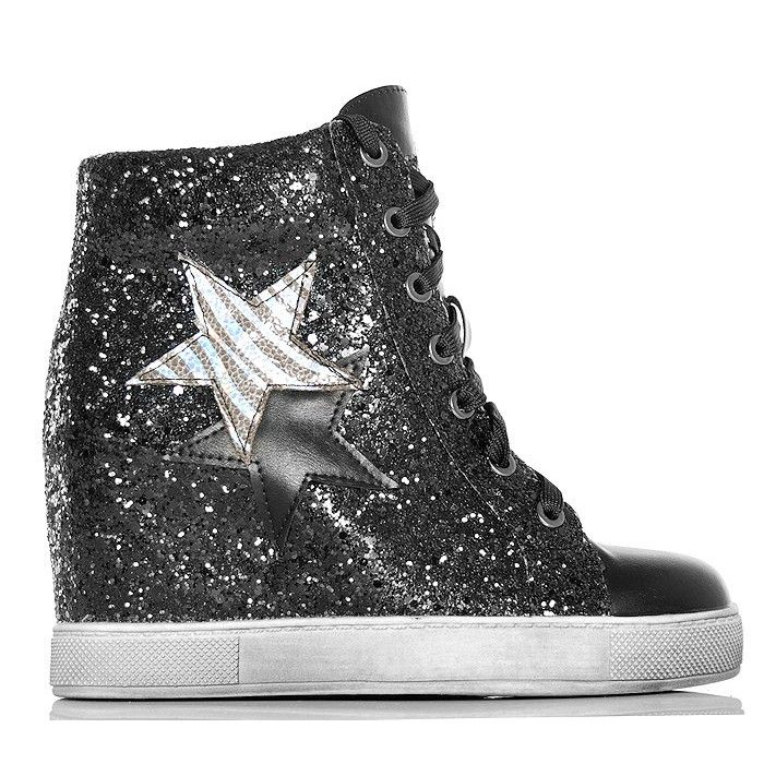 Sneakersy - Czarne Brokatowe Na Koturnie - www.BUU.pl