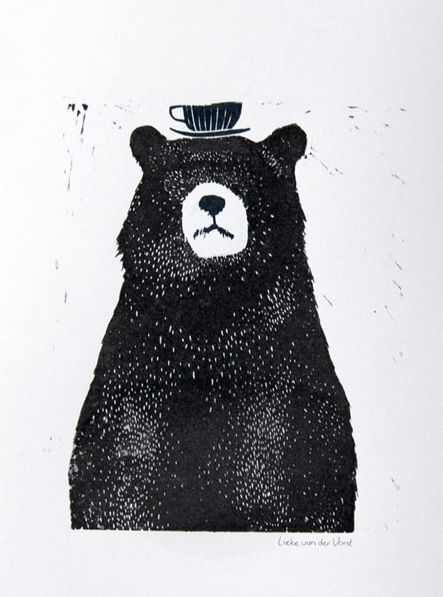 Little black bear with a teacup hat