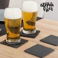 Glassbrikker (øl-brikker) av skifer (4 stk), Atopoir Noir.