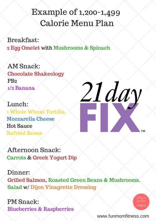 21 Day Fix Food Ideas-Sample Menu Plan