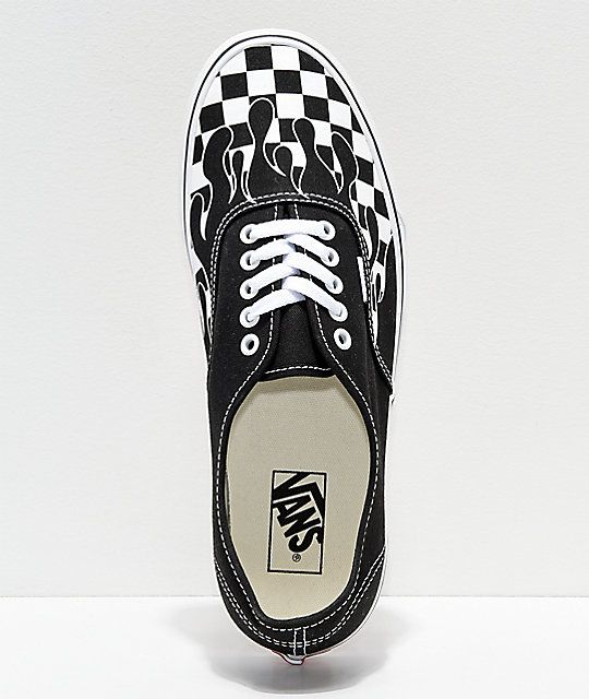 595622b7428 Vans Authentic Checkerboard Flame Black   White Skate Shoes