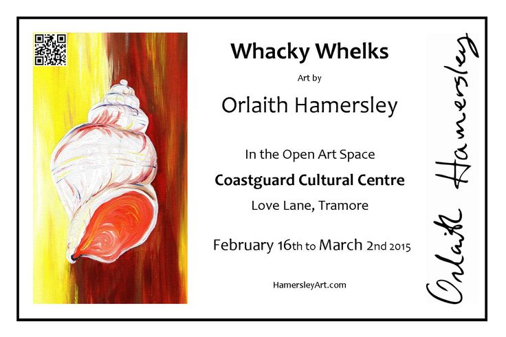 """""""Whacky Whelks"""" is a collection of bright energetic acrylic paintings and reproductions that capture the ever changing colour and texture of the coast. The Open Art Space in the Coastguard Cultural Centre, Tramore plays host to a light hearted exhibition of my paintings and reproductions. Brighten up your spring with a visit to this friendly cosy gallery and café, the exhibition will run from Feb 16th to Mar 2nd 2015. For more details visit www.hamersleyart.com"""