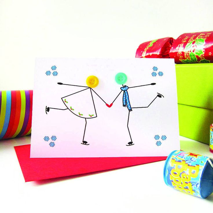 'skating' personalised christmas card by mrs l cards | notonthehighstreet.com
