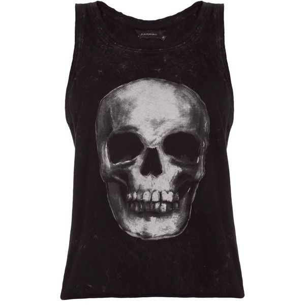 Eleven Paris Darn W Skull Tank ($200) ❤ liked on Polyvore featuring tops, scoop neck tank, skull tank, distressed tops, elevenparis and cotton tank