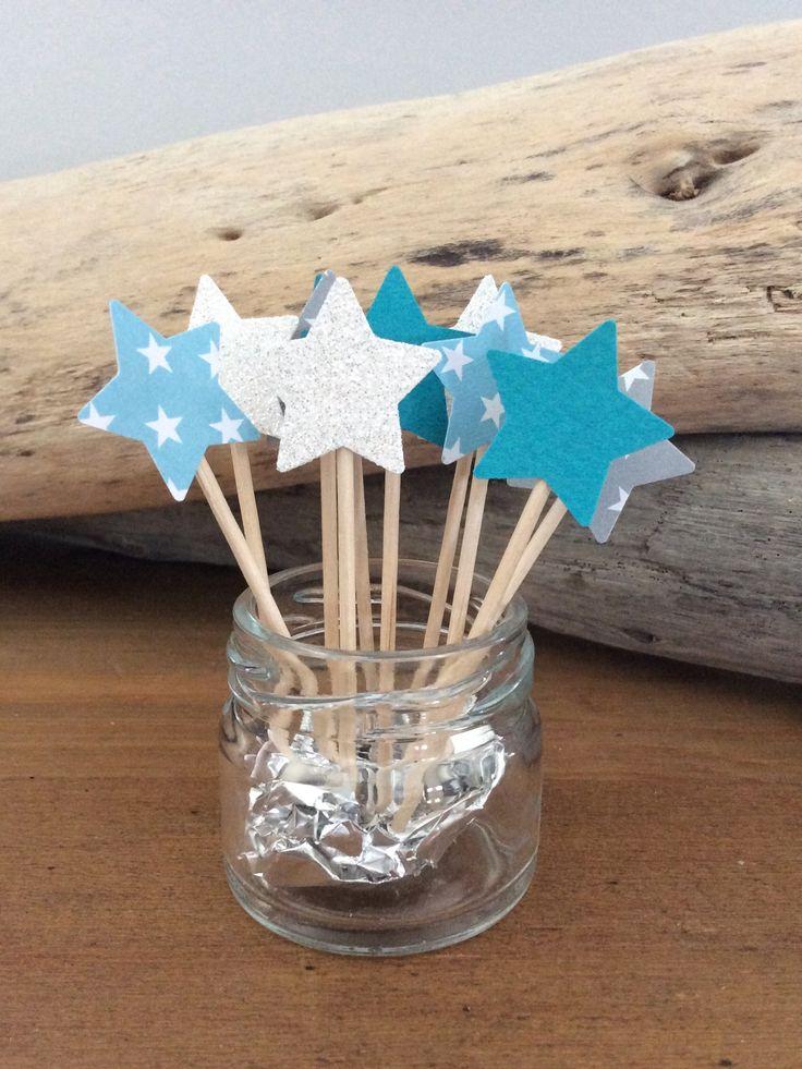 Cake Toppers motif Etoile nuance de bleu pour décorer vos cupcakes et autres douceurs - idéal pour Babyshower, mariage, baptême ... À retrouver sur http://lily-ose.alittlemarket.com