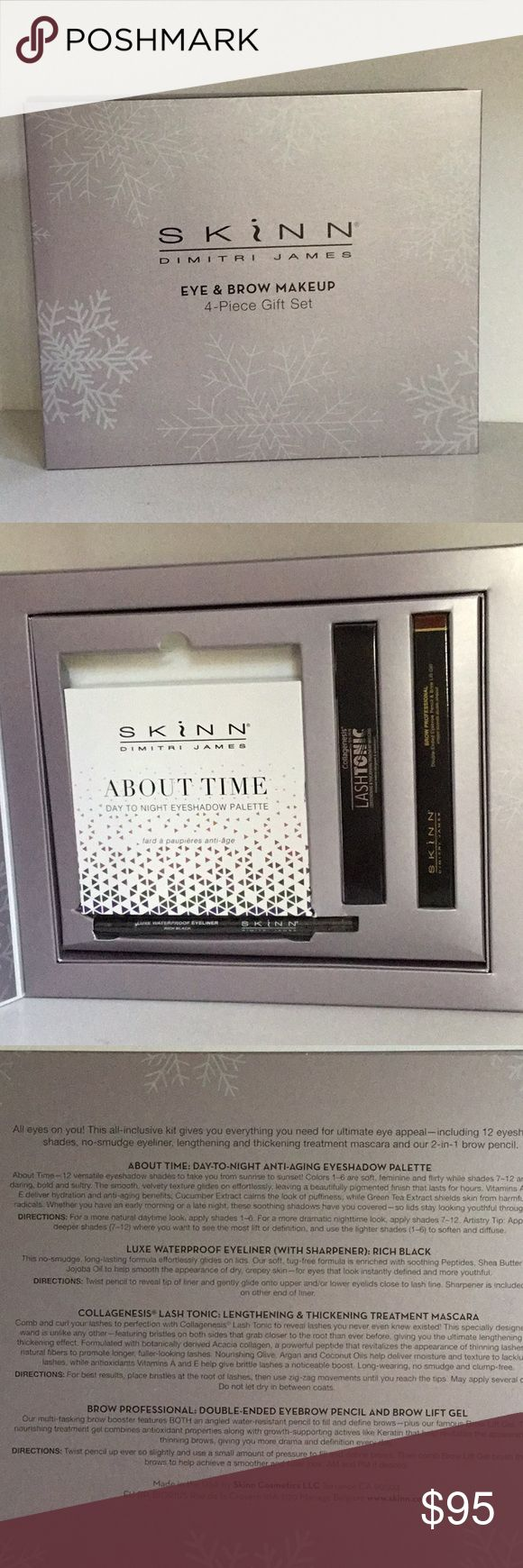 Eye Shadow Palette 12 shades AUTHENTIC NIB and sealed anti-aging eyeshadow palette of 12 colors from SKINN cosmetics. Colors range from soft to bold and sultry. Vitamins A, C and E deliver hydration and anti-aging benefits. SKINN Makeup