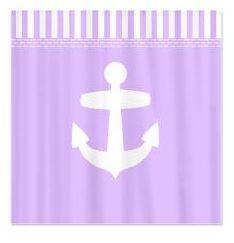 Purple girly bathroom decor - lilac purple nautical anchor shower curtain