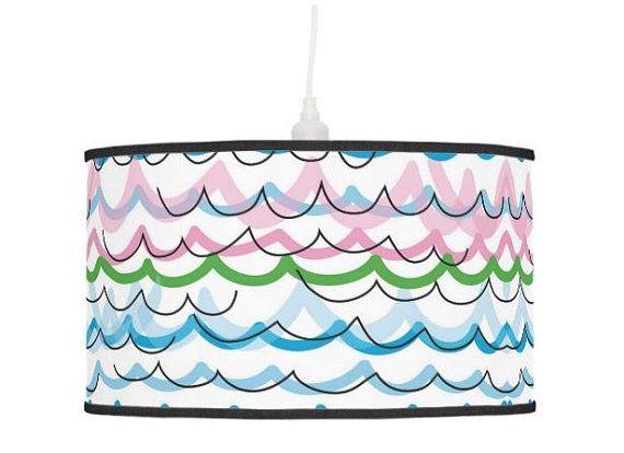 Fun striped lampshade childrens pendant lamp shade striped