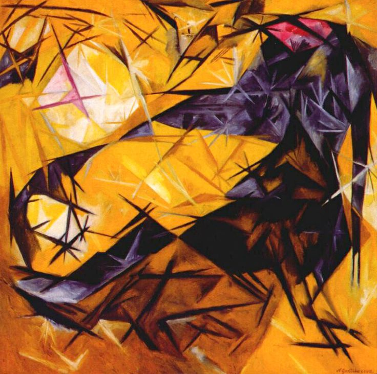 NATALIA GONCHAROVA. Cats (Rayonist Perception In Rose, Black And Yellow). 1913.