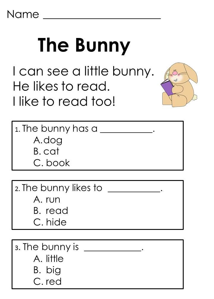 Reading Worksheets For Kindergarten : Easter reading passages addition word problems