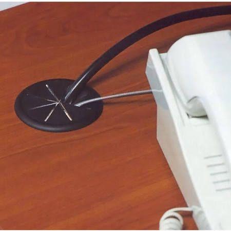 Hafele Flexi-Top Cable Grommet, Plastic, Black, 2-3/8 in. Hole