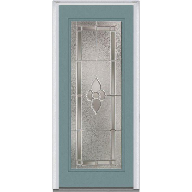Milliken Millwork 37.5 in. x 81.75 in. Master Nouveau Decorative Glass Full Lite Painted Majestic Steel Exterior Door, Riverway