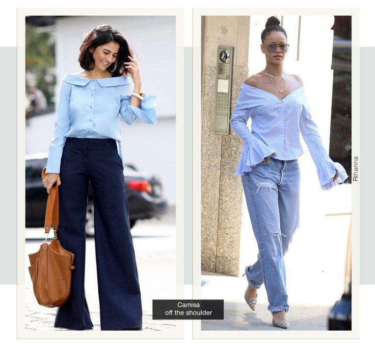 O shape da camisa com ombros de fora está em destaque nesta estação. E vale tanto para quem gosta de deixá-los realmente evidentes (como a Rihanna) quanto para as mais discretas, que preferem uma abertura mais sutil. Independente da escolha, a tendência funciona para diversas ocasiões.