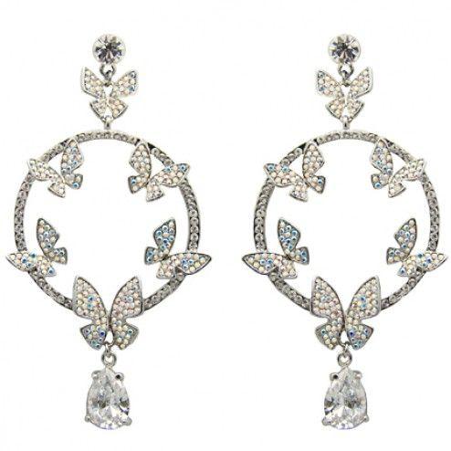 Butler and Wilson Crystal Butterfly Hoop Earrings at aquaruby.com