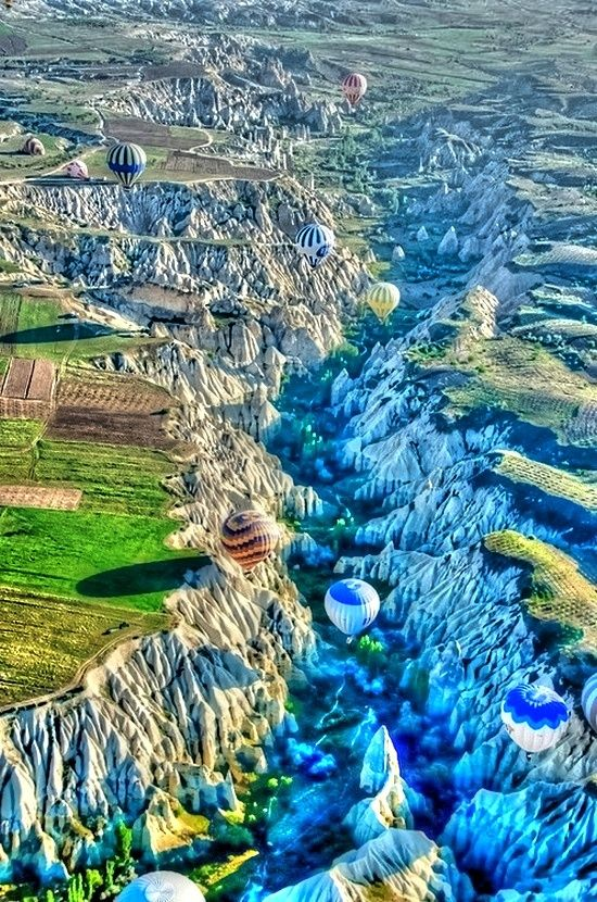 "Ballooning over Cappadocia, Turkey. ""Cappadocia is a historical region in Central Anatolia, largely in the Nevşehir Province, in Turkey."""