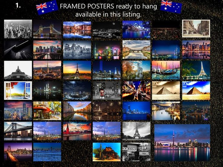CITYSCAPE and LANDSCAPE POSTERS BLACK FRAME - size 61x91cm - 24x36 inch CHOOSE