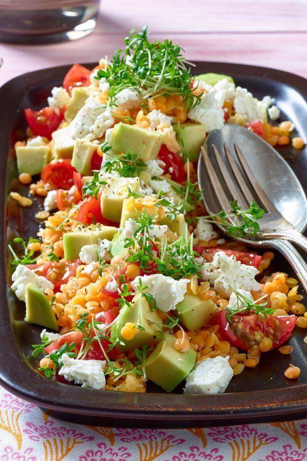 Rezept für Linsen-Avocado-Salat mit Feta