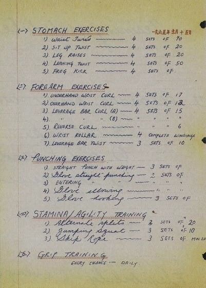 Bruce Lee work out routine