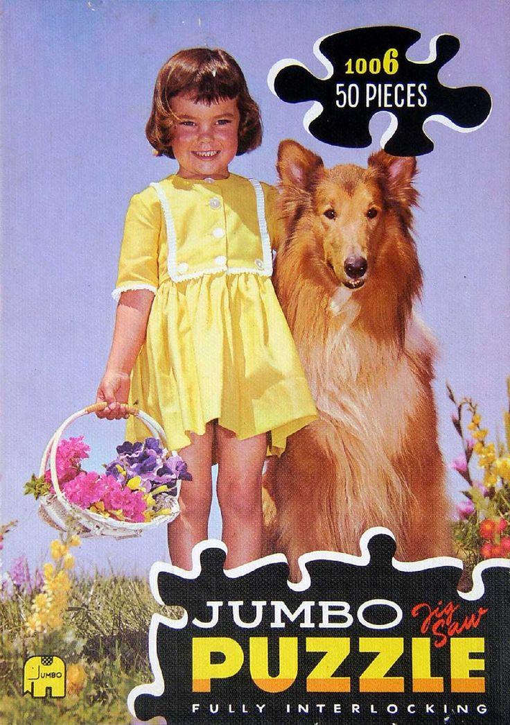 Jumbo Puzzles: 1006 Meisje in gele jurk met hond en bloemen (1966-1969)