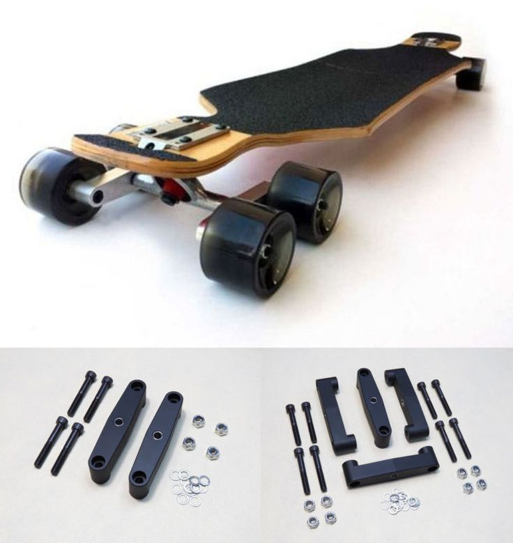 Black Aluminum Tandem Axle Wheel Kit Set Skateboard Cruiser Longboard Truck