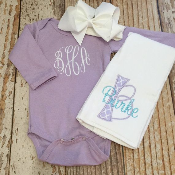 Monogrammed baby girl coming home outfit bodysuit bow by skkilby21