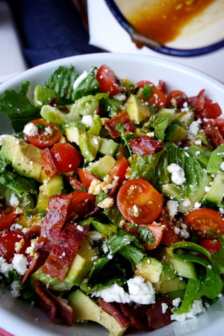 BLT Bowl: Bacon, Lettuce, Tomato, Avocado, Cucumber, Feta, with a Olive Oil and Balsamic Dressing.