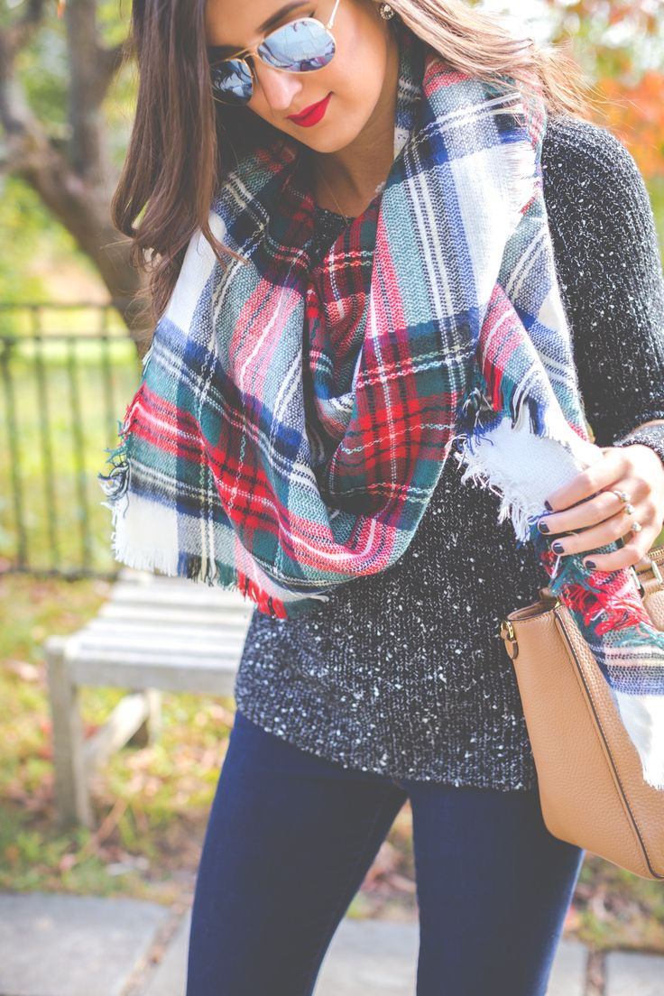 new england fall, boston, plaid blanket scarf, oversized scarf, marled sweater, cognac riding boots, fall outfits // grace wainwright from a southern drawl