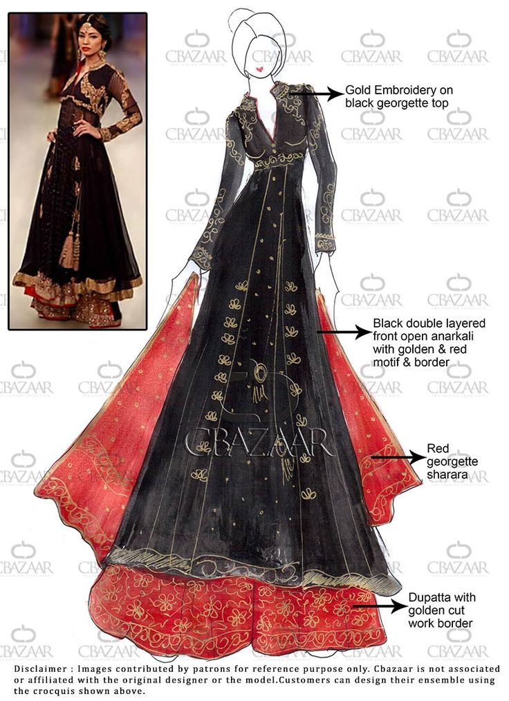 DIY Black Georgette Sharara Suit