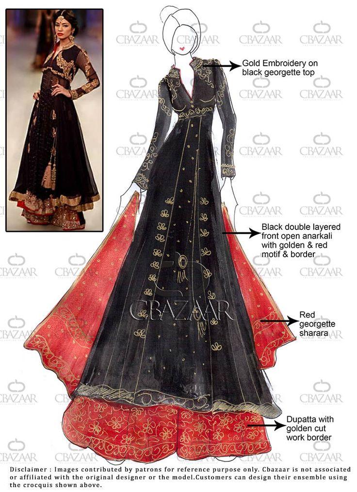 DIY Black Georgette Sharara Suit