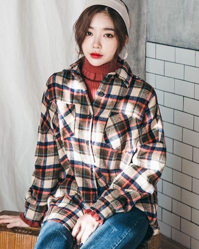 Old School Check Shirt CHLO.D.MANON   #check #shirt #koreanfashion #kstyle #kfashion #dailylook #wintertrend