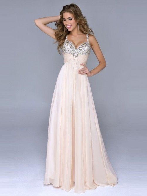 A-Line/Princess Spaghetti Strap Beading Zipper Back Floor-Length Prom Dresses