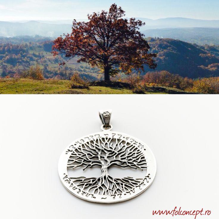 """Arborele Vieții – simbol cu puternice implicații spirituale care exprimă armonia dintre Divin și lumesc, dintre Cer și Pământ, dintre Creator și Creație. Este simbolul care exprimă cel mai bine sintagma """"precum în cer așa și pe pământ"""". http://folconcept.ro/magazin/pandantiv-arborele-vietii/"""