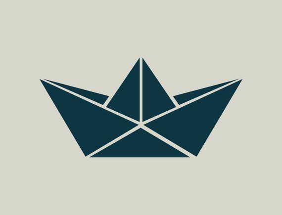 Pochoir de bateau. Origami bateau. Pochoir origami (ref 444)