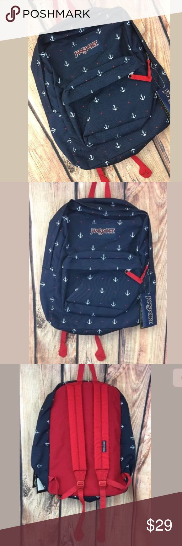 """Jansport Nautical Anchor Backpack School Bag Navy Jansport Nautical Anchor Superbreak Backpack School Bag Navy Blue Red; new with tags; 17"""" tall x 16"""" wide; lightweight canvas style bag Jansport Bags Backpacks"""