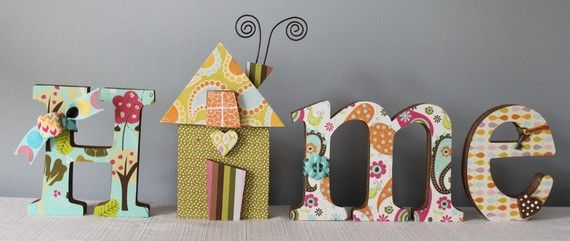 HOME decorated letters, custom decorated home decor letters