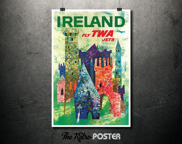 Ireland - Fly TWA Jets - Vintage Airline Travel Poster, Wanderlust, Travel Prints, Aviaiton, Travel gift, Travel Decor, Travel Poster Prints by TheRetroPoster on Etsy