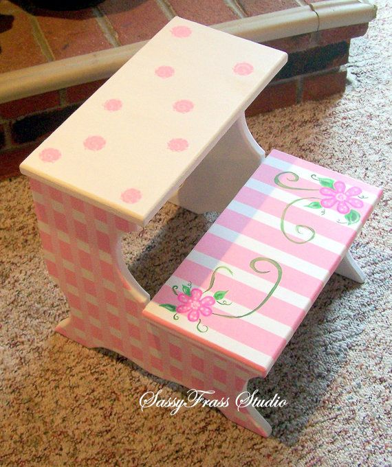 Children 39 s hand painted pink and white girls step stool for Diy kids stool