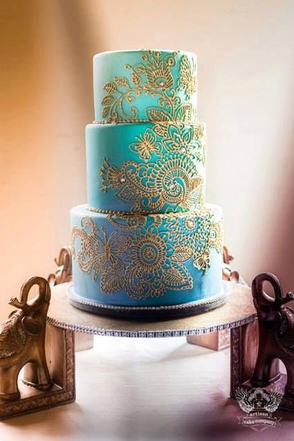 indian wedding cake - love the paisley design // Vendor Spotlight: Artisan Cake Company