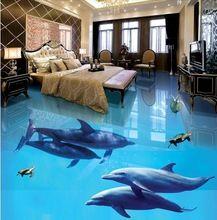 Customized 3d wallpaper 3d pvc floor painting murals 3D floor stickers Ocean World wallpaper murals beauty room(China (Mainland))