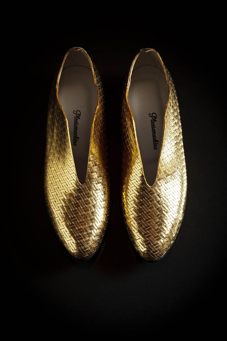 Pleasemachine gold leather Trixter loafers